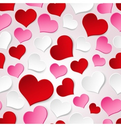 White red and pink valentine hearths seamless vector