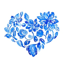 Hand drawn watercolor flower heart vector