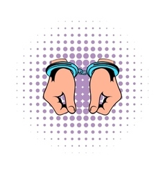 Hands in handcuffs icon comics vector