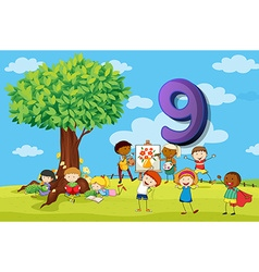 Flashcard number 9 with nine children in the park vector image