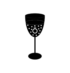 Flat icon in black and white style wine glass vector