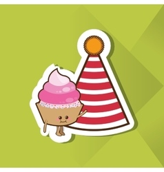 Happy birthday and muffin design vector