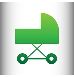 Pram sign green gradient icon vector