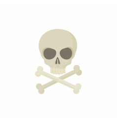 Skull with two crossed bones icon cartoon style vector