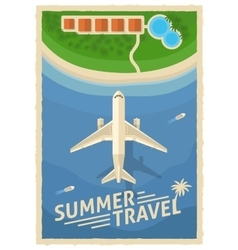 Summer air travel retro poster vector