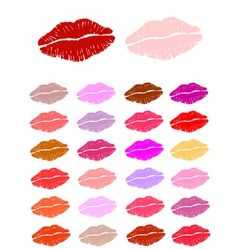 Set of lipstick kisses vector image