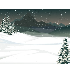 Beauty snow mountain cartoon with pine tree backgr vector