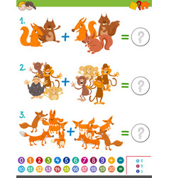 Addition maths game for kids vector