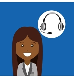 Afroamerican girl headphones for support vector
