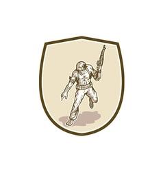 American soldier serviceman armalite rifle cartoon vector