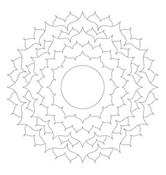 Black and white round simple mandala lotus vector
