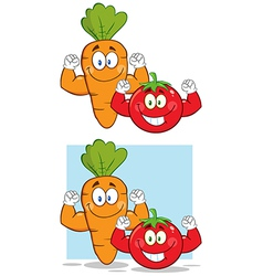Cartoon tomato and carrot vector image vector image