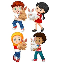 Children hugging cute rabbits vector image