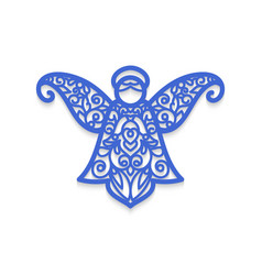Christmas angel with pattern laser cutting vector
