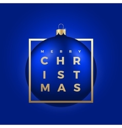 Christmas ball on blue background with golden vector