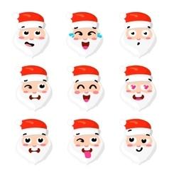 Christmas Set - six emotion faces of santa vector image