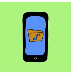 Doodle style phone with music folder vector