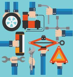 Emergency road kit items auto mechanic tools moder vector