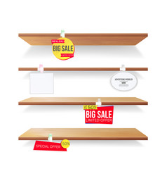 empty shelves advertising wobblers retail vector image vector image