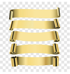 Five gold ribbons isolated on transparent vector