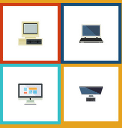 Flat icon laptop set of computer notebook pc and vector