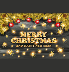 Golden text on black background merry christmas vector