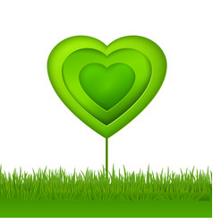 Green paper eco heart tree vector