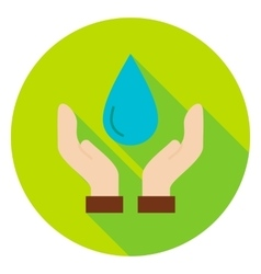 Hands Save the Planet Water Circle Icon vector image