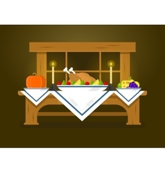 Holiday table for thanksgiving vector
