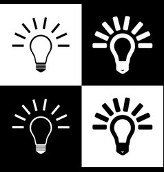 Light lamp sign black and white icons and vector
