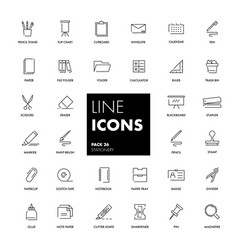 line icons set stationery vector image vector image