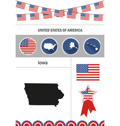 Map of iowa set of flat design icons nfographics vector