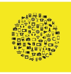 Modern technology icons in circle vector
