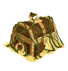 Old treasure chest in sand and seaweed vector
