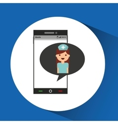 Phone online health nurse character vector