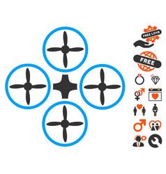 Quadcopter icon with love bonus vector