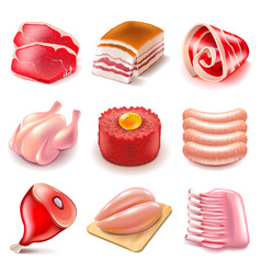 raw meat icons set vector image vector image