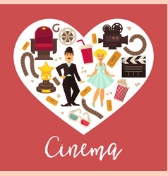 retro cinema movie poster flat heart vector image vector image