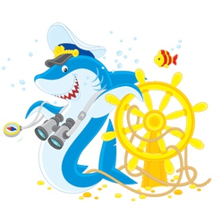 shark captain vector image vector image