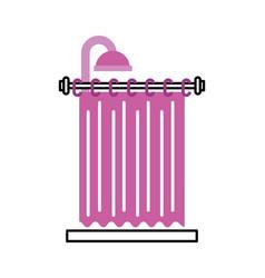 Shower curtain clean interior element for bathroom vector