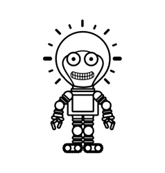 Silhouette robot toy flat icon vector