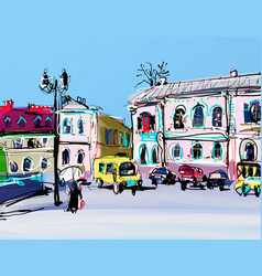 sketch drawing of cityscape in kamenets-podolskiy vector image vector image
