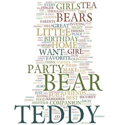 Teddy bear birthday party theme text background vector