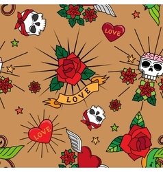 Vintage cute tattoo seamless pattern vector image vector image