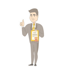 Young caucasian businessman holding a certificate vector
