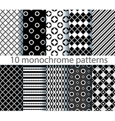 10 seamless monochrome patterns vector