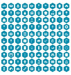 100 dessert icons sapphirine violet vector image vector image