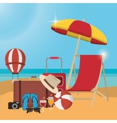 Chair umbrella summer holiday vacation icon vector