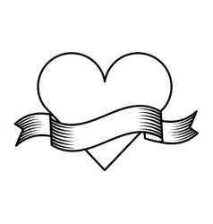 ribbon drawing tattoo style isolated icon vector image