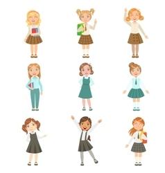 Girls wearing an assortment of classy school vector